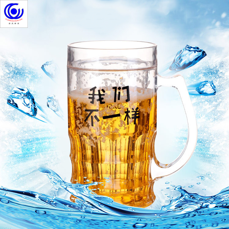 funny Creative Summer Cold <font><b>Beer</b></font> Mug Spoofing Water Ice <font><b>Cup</b></font> Mezzanine Double Layer Refrigeration Coffee Tea Milk cafe Novelty image