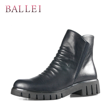 BALLEI Luxury Winter Woman Ankle Boot Vintage Genuine Leather Retro Round Toe Low Square Heel Shoe Classic Pleated Soft B16