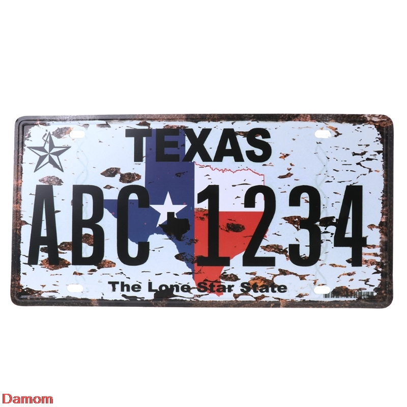 Car License Plate Cover Vintage Retro Metal Tin Sign Poster Number Frame Bolts  Plaque Bar Pub Club Wall Home Decor 30x16cm