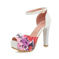 Big Size 11 12 Casual Buckle Elegant Print Square Heel Women S Shoes Extreme High Heels