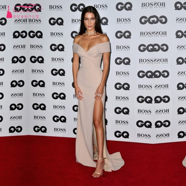Bella Hadid Sexy Off-shoulder Evening Prom Gown GQ Model of the Year Award Long Celebrity Dresses vestido de festa