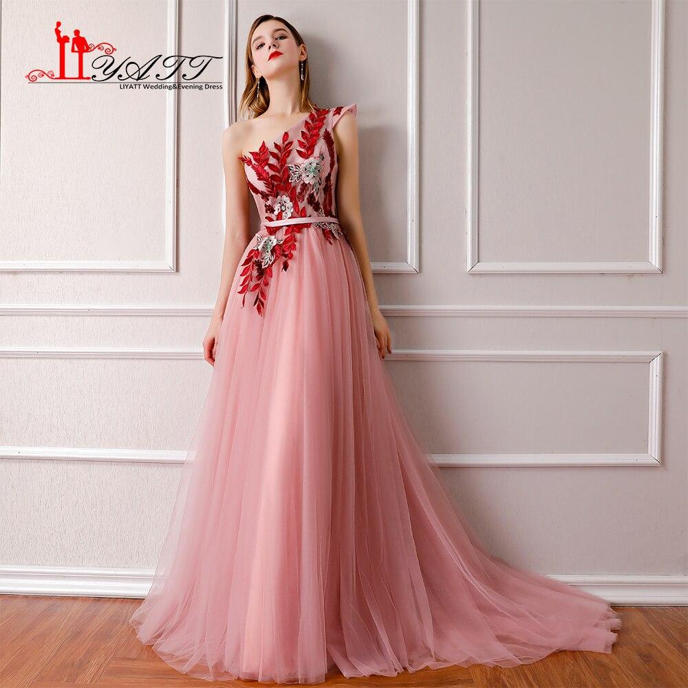 LIYATT 2018 New Collection Pink One Shoulder Arabic Lace Appliques Vintage  Formal Long Evening Prom Dresses 1bad3e2cdf01
