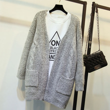 2018 New Women Korean Long Cardigan Crochet Casual Oversized Open Stitch Knitted Coat Thick Spring Autumn Female