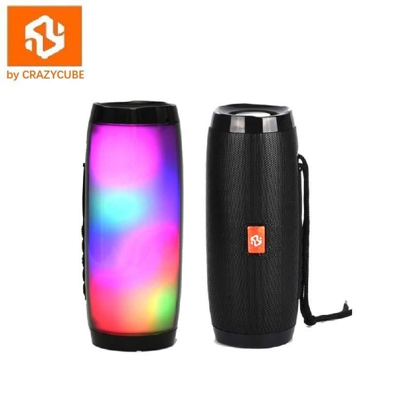CrazyCube Pulse LED Drahtlose Tragbare Bluetooth Lautsprecher besser als jbl mit fm radio 10W dual passive bass surround stereo