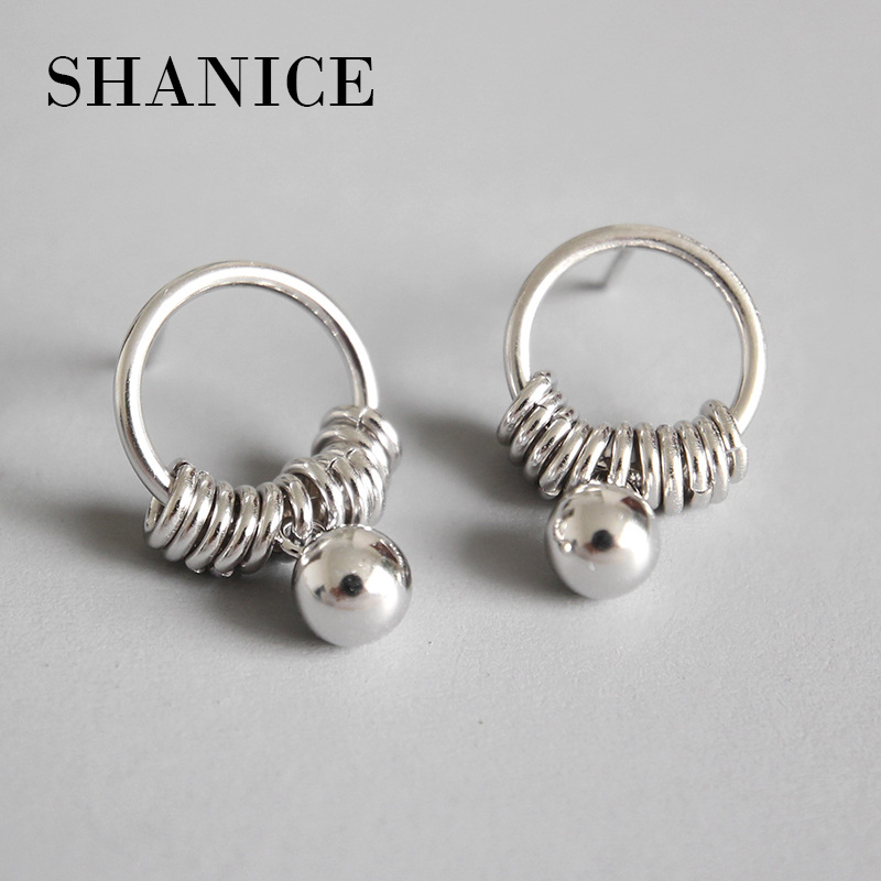 SHANICE 925 Sterling Silver Simple Round Circle Tassel Bead Stud Earrings For Women Girls Pendientes Christmas Party Jewelry