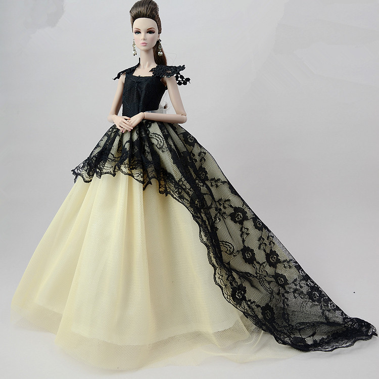 NK One Pcs Handmade Princess Wedding Dress Noble Party Gown For Barbie Doll Fashion Design Outfit Best Gift For Girl Doll 021H