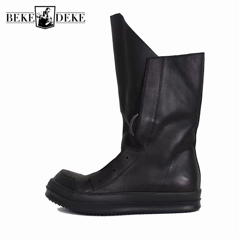 Men Casual Platform Shoes High-TOP Handmade Classic Boots New Gothic Luxury Trainers Genuine Leather Lace-up Zip Flats SneakersMen Casual Platform Shoes High-TOP Handmade Classic Boots New Gothic Luxury Trainers Genuine Leather Lace-up Zip Flats Sneakers