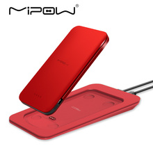 MIPOW 7000mAh Portable Power Bank Battery Built in MFI Certified USB Cable Wireless Charger for iPhone X 8 8 Plus