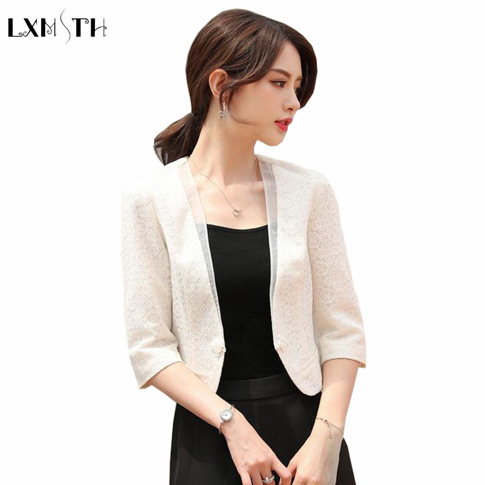 LXMSTH Ladies Coats 2018 Spring Summer New Korean Fashion Elegant Lace Coat Women OL Formal Slim White Women's jacket Plus Size ladies consultation coat white size 14 1 each model 88018qhw14
