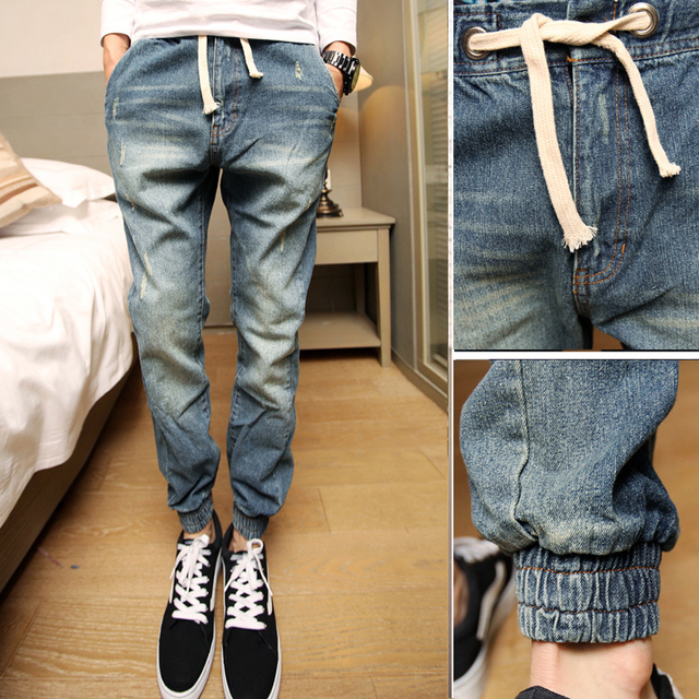 Mens Joggers New Style Fashion 2016 Casual Skinny Denim Pants Drop Crotch jeans Harem Pants Men 3XL-S 3Colors