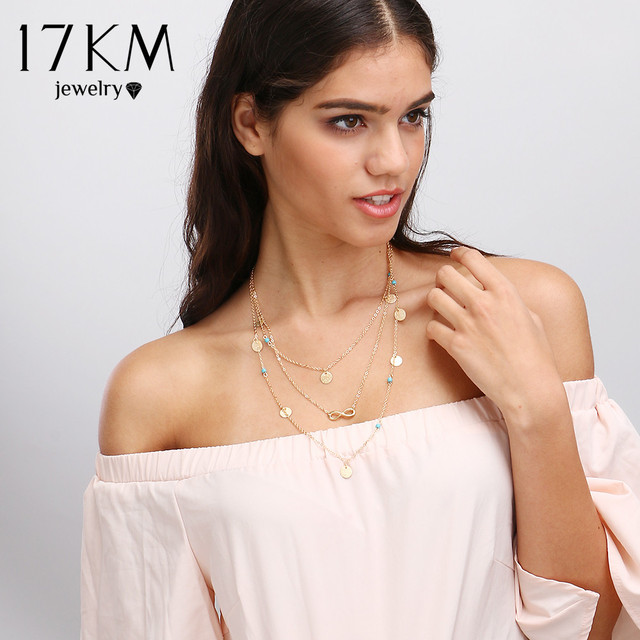 17KM New Multi Layer Chain Gold Color Tassel Infinity Necklace for Women Jewelle