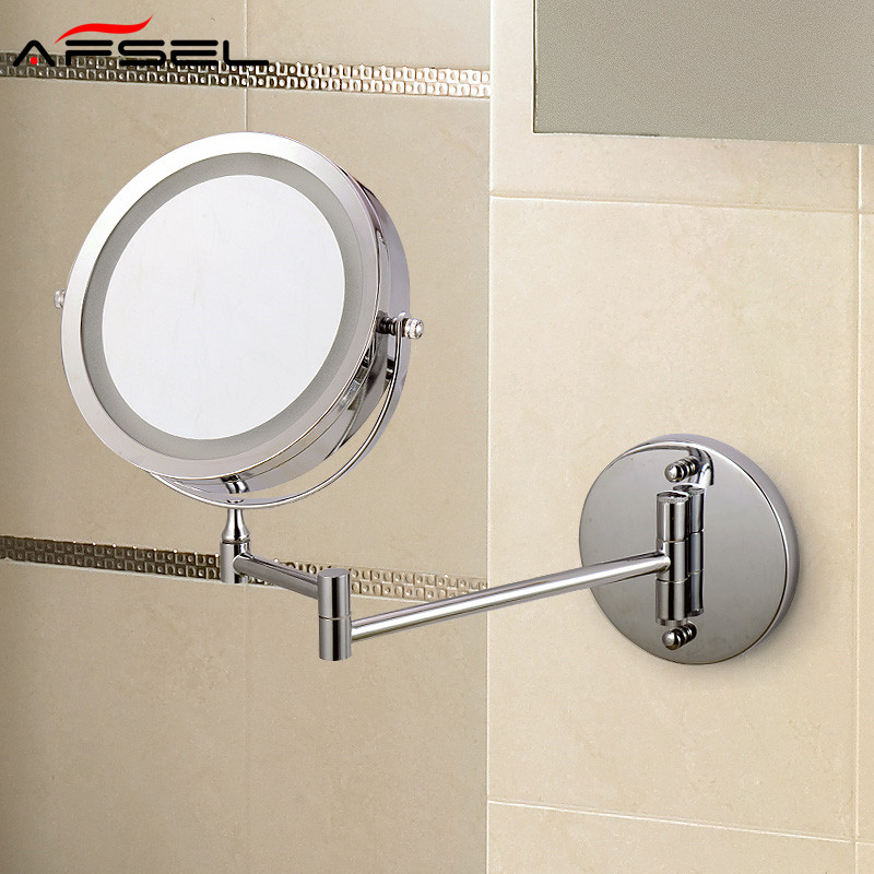 AFSEL Free Shipping 7 Wall Mounted Bathroom Mirror LED Makeup Cosmetic Mirror AAA Battery 5X/10X Magnifying Toilet Folding high quality 9 brass 1x3x magnifying bathroom wall mounted round 25 led cosmetic makeup mirror with lighting mirror 2068
