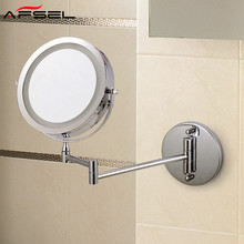 AFSEL Free Shipping 7″ Wall Mounted Bathroom Mirror LED Makeup Cosmetic Mirror AAA Battery 5X/10X Magnifying Toilet Folding