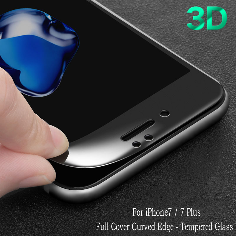 For iPhone 7 Screen Protector 3D Curved Edge Full Cover Tempered Glass Guard Film For iphone 6 6s 7 7 plus Protective Film