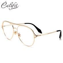 c35125d37f3 CALIFIT Gold Spiral Frame Clear Lens Women Glasses Pilot Double Bridge  Eyewear Fashion Trending Glasses Female Brand Design New