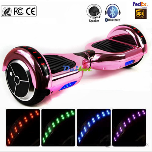 No Tax New Chrome Pink Gold Bluetooth Hoverboard LED Lights Two Wheels Self Balancing Scooter Electric Skateboard gyroscope 8 5 inch hoverboard electric skateboard electric scooter hover board self balancing scooter overboard 2 wheels bluetooth