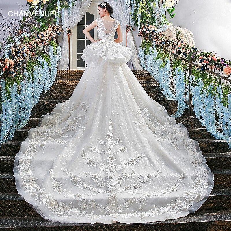 LS00409 два слоя пухлый юбка совок шею короткие рукава большой магазин поезда онлайн фарфор 2018 свадебные платья