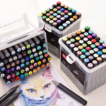 DeLi Marker 24/36/48/60 Colors Art Marker Oil Based Marker pen Dual Head Sketch Marker Brush Pen For Draw Manga Drop shipping finecolour 36 48 60 72 colors alcohol based marker double head brush art sketch marker student painting sketch drawing marker