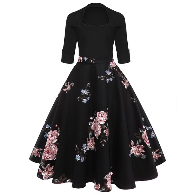 Wipalo Women Party Dress New Year Hepburn Vintage Rockabilly Robe Female  Floral 3 4 Sleeves Swing Midi Dress Vestidos Mujer 2XL bc5170095ae1