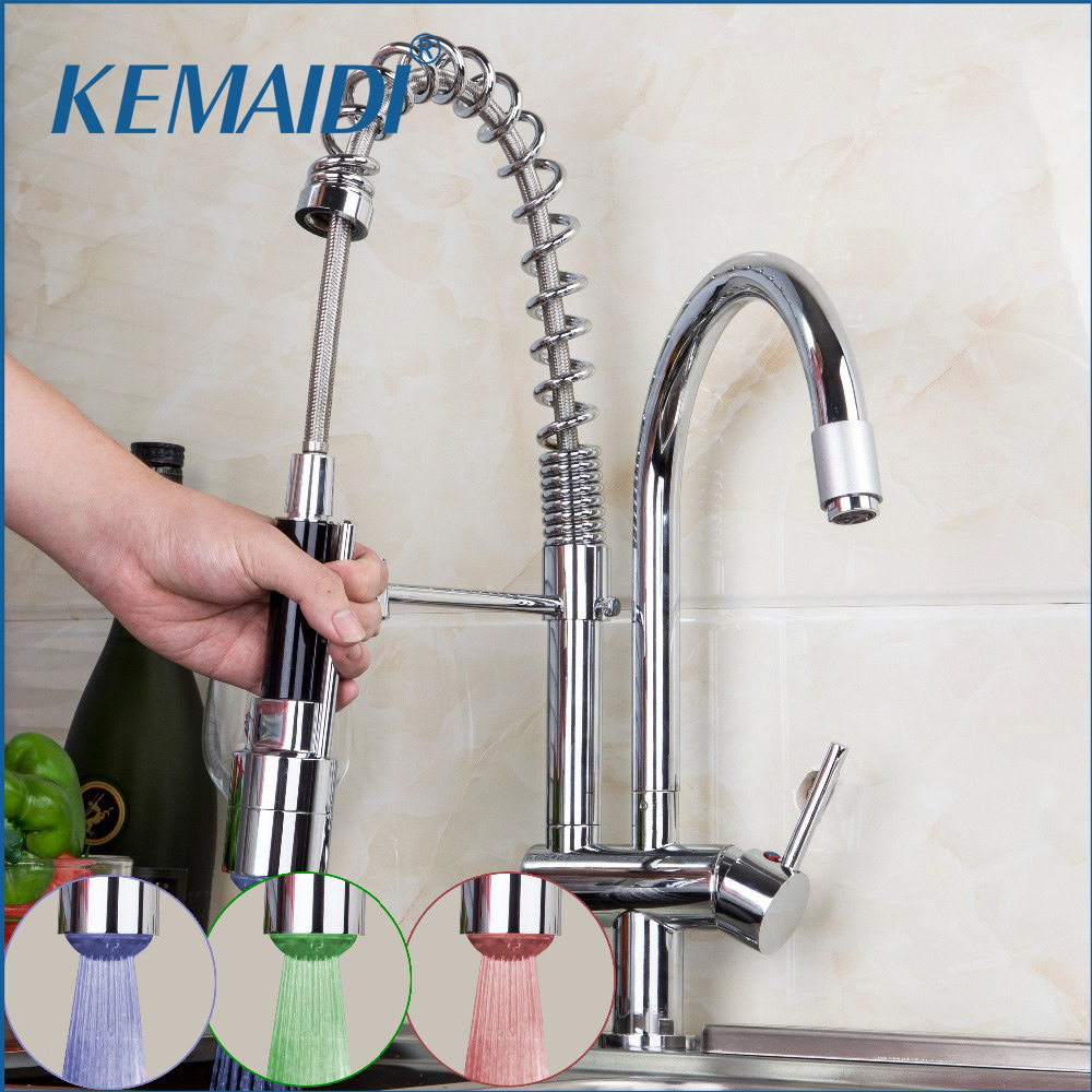 LED Faucet Chrome Pull out Down Spray Deck Mount Double Handle Tap Wash Basin Sink Vessel Kitchen Torneira Cozinha Mixer Faucet kitchen chrome plated brass faucet single handle pull out pull down sink mixer hot and cold tap modern design