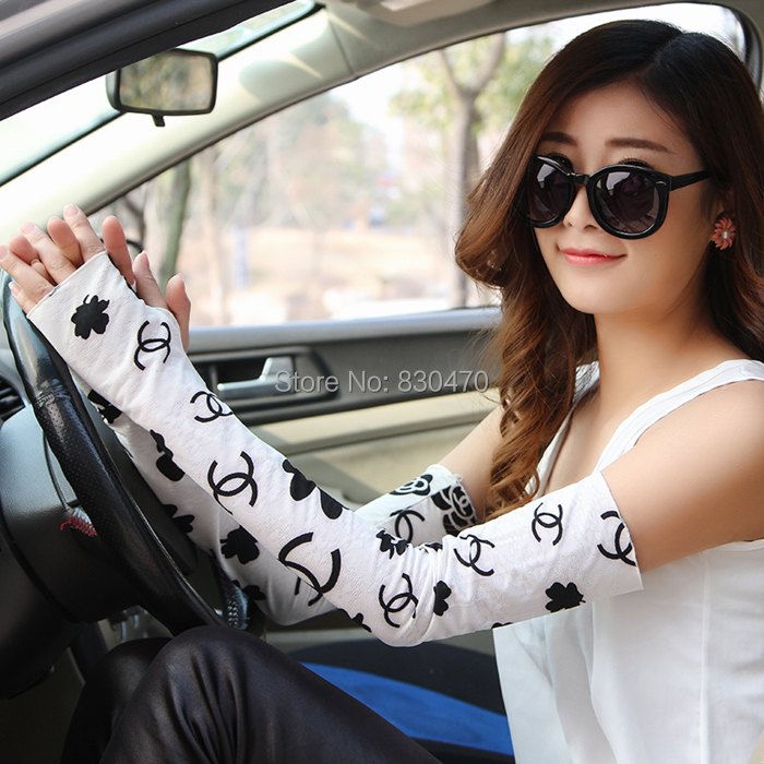Summer sunscreen gloves anti-uv summer long design women's 100% oversleeps cotton lace thin arm sleeve - Beautiful fashionable clothing shop store