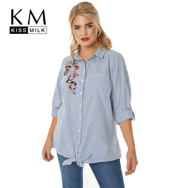 ce54cd53d04 Kissmilk Plus Size Floral Embroidery Women Shirt Blue Stripe Half Sleeve  Button Down Blouse Loose Summer Vintage Tops
