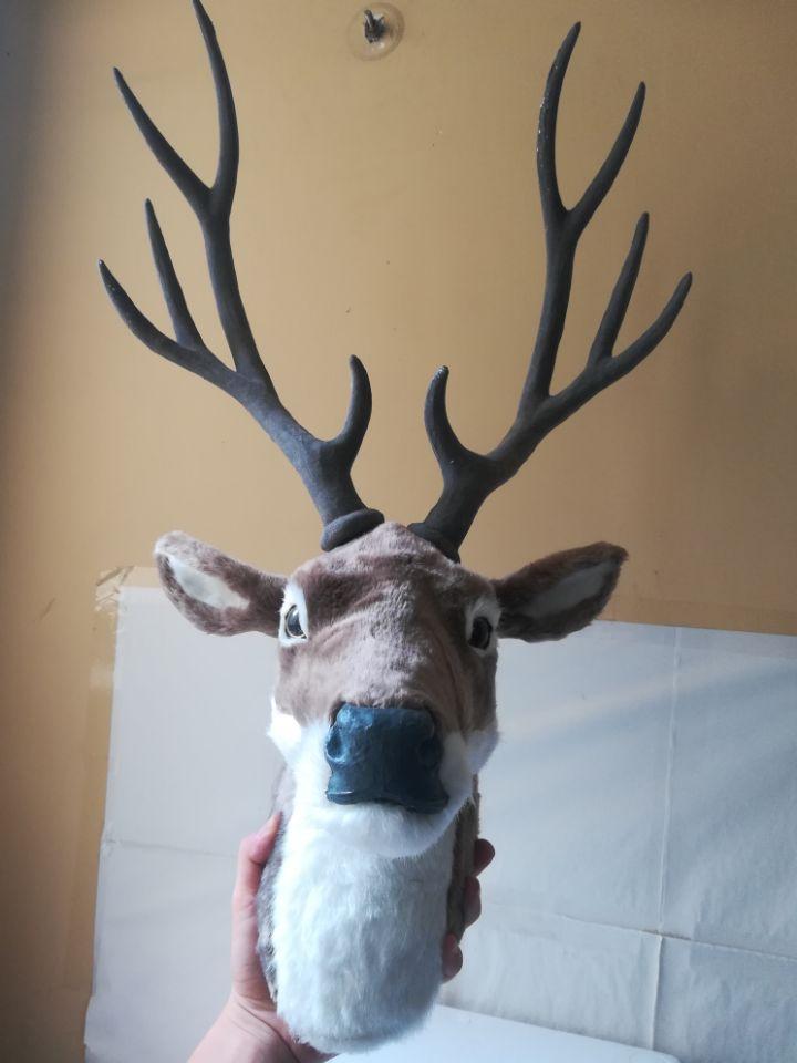 new simulation sika deer head model polyethylene&furs big gray deer head wall pandent gift about 32x25x70cm 2636new simulation sika deer head model polyethylene&furs big gray deer head wall pandent gift about 32x25x70cm 2636