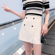 Skirts Womens High Waist Wild Skirt Single-Row Buckle Irregular Solid Color Strap A-Line Maxi Mini