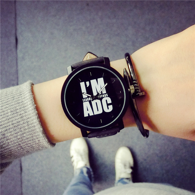 New Fashion I am ADC League of Hero Game Leather Quartz Wristwatches Wrist Watches for Men Male Gamer OP001