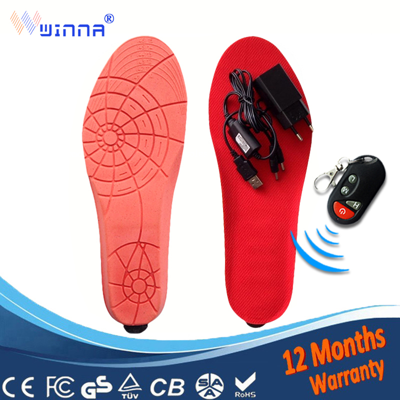 NEW Heated Insoles With Battery Remote Control Winter Skiing Thick Insole Wool Warm with Fur Shoes Accessories EUR Size 41 46#
