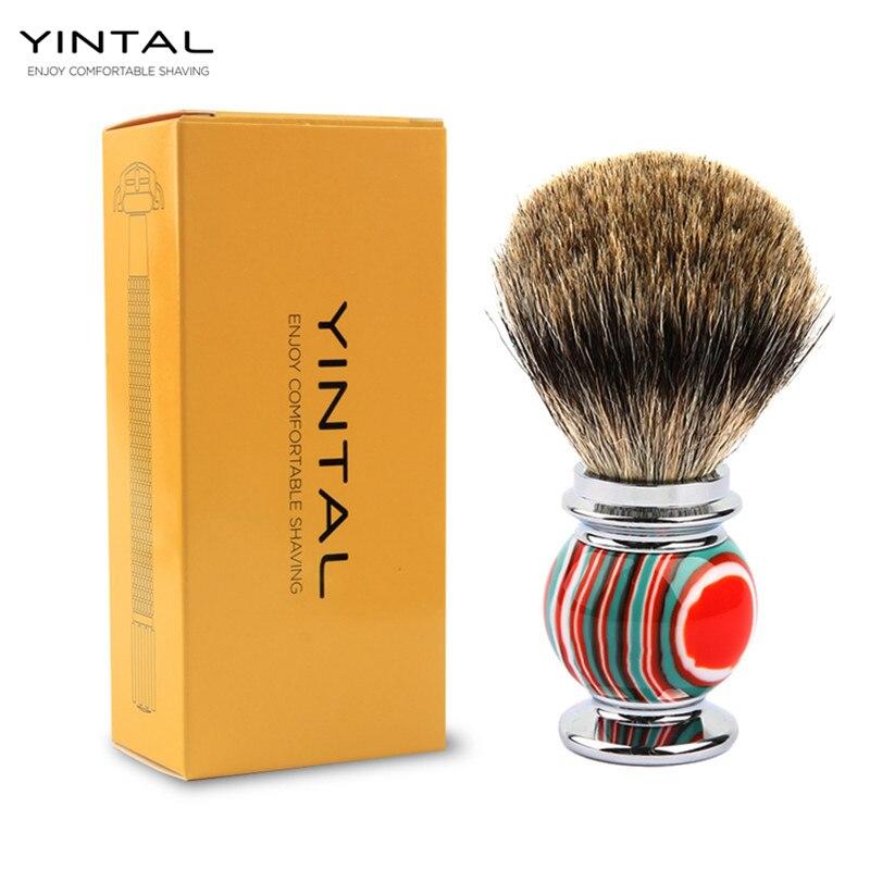 все цены на YINTAL Badger Hair Shaving Brush Zinc alloy + resin Candy Colors Men Shaving Brush Shaving Accessories Colorful
