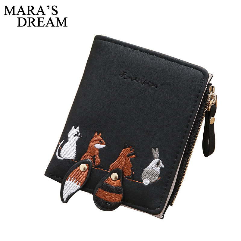 Mara's Dream 2018 Women Wallets Fashion Embroidery Foxes Pattern Short Wallet Zipper Buckle Female Purses Coin Purse Card Holder new wallet кошелек new foxes nw 036