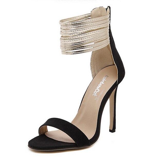 9e2565930d Sapatos de verão dedo aberto brilho cinto 11 cm fina de salto alto sandálias  tornozelo fino