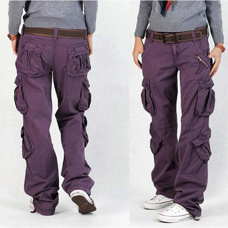 womens cotton cargo pants - Pi Pants