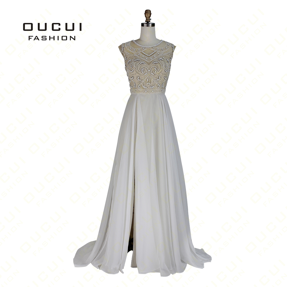 Real Photo Formal Gown Hollow Beading Handwork Chiffon Open back High Split  Dress Sexy Prom Long 7e914f570f04