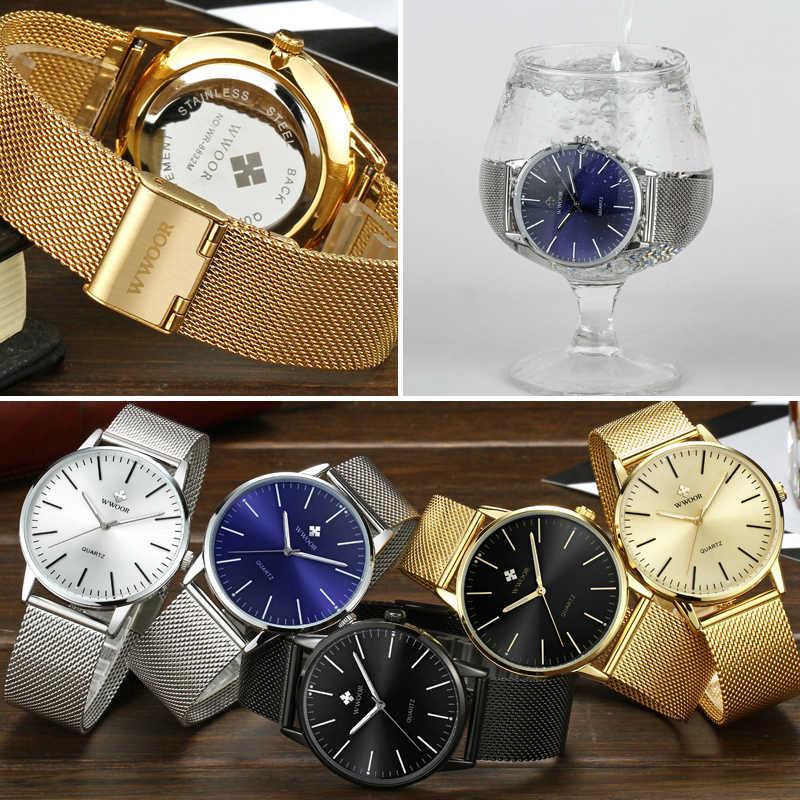 WWOOR Mens פשוט Slim קוורץ שעון גברים אופנה זהב רשת פלדה שעונים זכר למעלה מותג יוקרה שעוני יד Relogio Masculino שעון