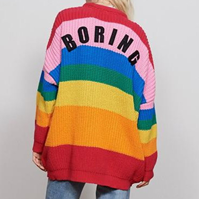 2a486d4002f87 US $21.25 |Rainbow Sweater Cardigan Women 2018 Korea Hot Autumn V Neck  Embroidered Heart Loose Stripe Knitted Long Sweaters and Pullovers-in  Cardigans ...