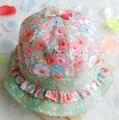 Envío gratis! 2016 nuevo niño del bebé del Bowknot perlas Floral sun cap primavera verano exterior bebés sun Beach sombrero del cubo