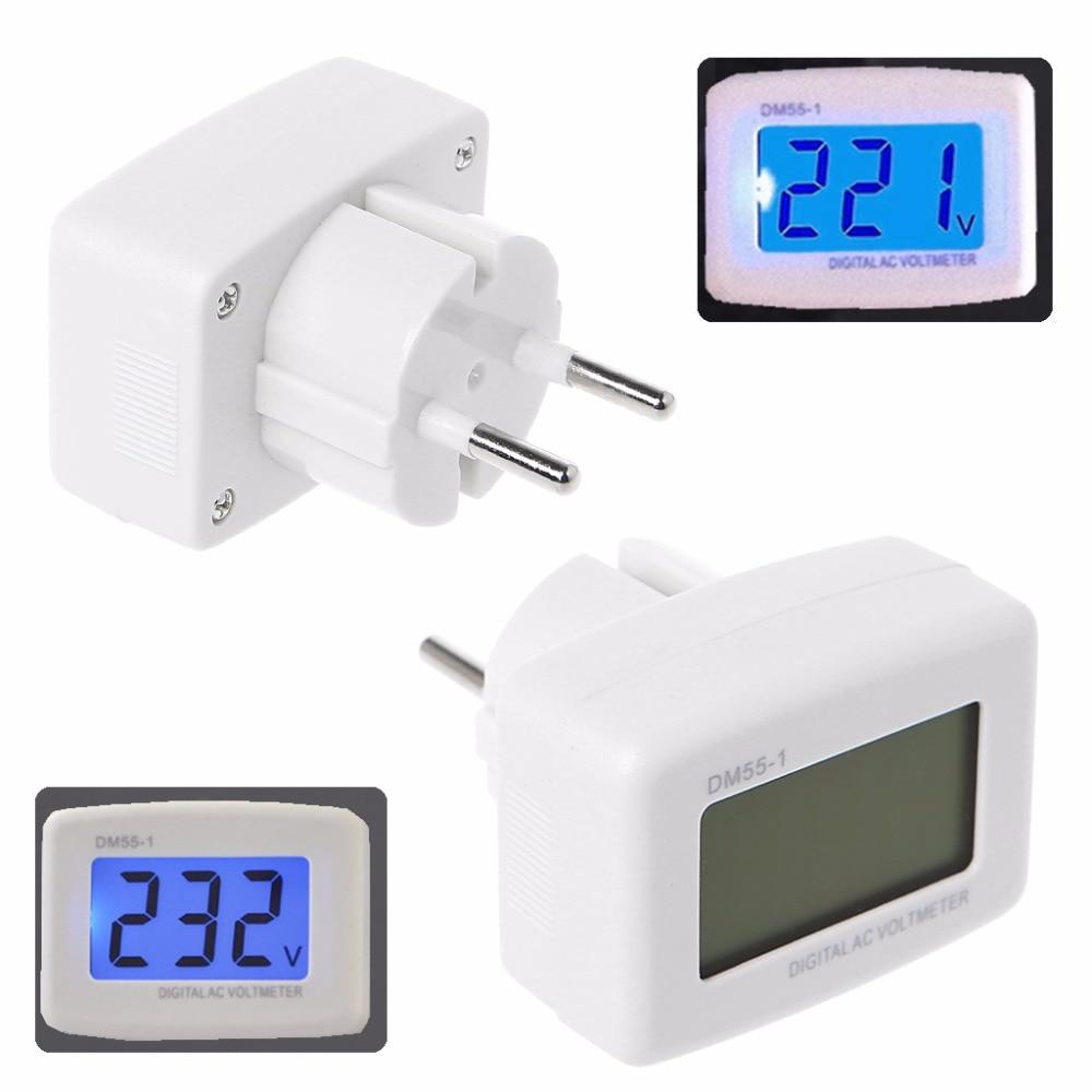 DM55-1 AC 85-260V LCD Digital Voltmeter Electric Pen Meters Blue Lights EU Plug