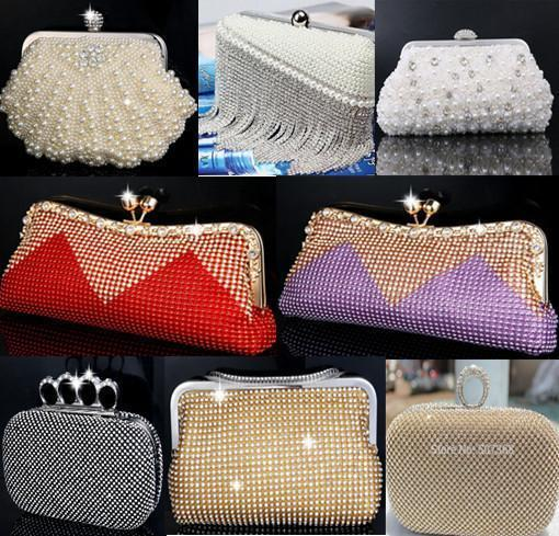 Pearl evening bags rhinestone beaded day clutch evening bag finger ring mini women wedding bridal/bridesmaid shoulder ladies bag
