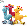 1pc Cartoon Deer Soft Fleece Dog Sound Toy Cotton Rope Puppy Chew Toys 24*9.5*4cm