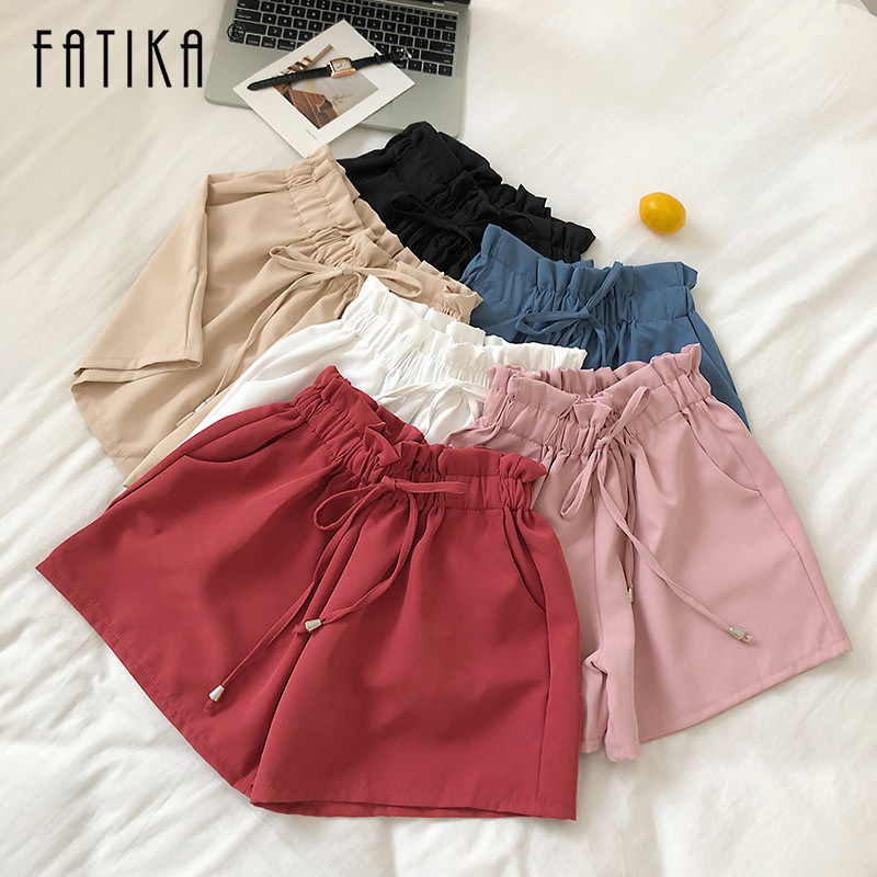 FATIKA 2019 Summer New Women's Fashion High Waist Solid Lace Up Shorts Casual Loose Shorts Trousers For Women