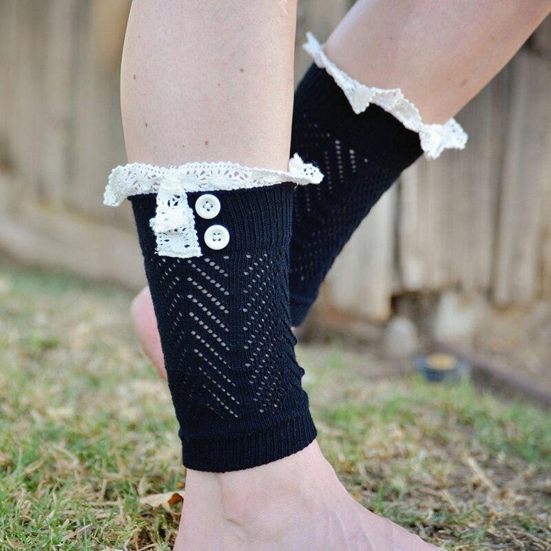 1 Paar 2018 Winter Korte Sokken Breien Beenwarmers Manchetten Toppers Boot Sokken Boot Cover Warm Haak Knit Fur Trim Beenwarmers Fijn Vakmanschap