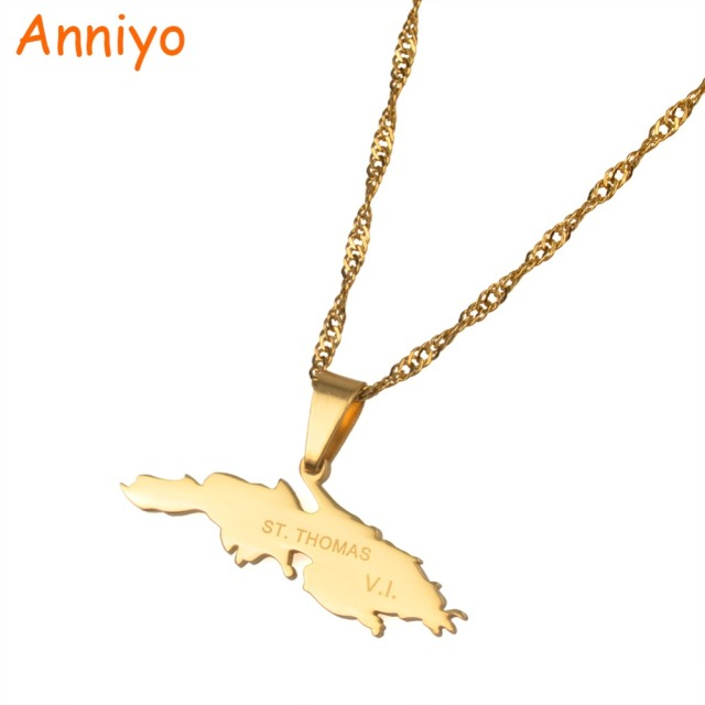 Anniyo St Thomas VI Charm Pendant Necklaces Gold Color Saint