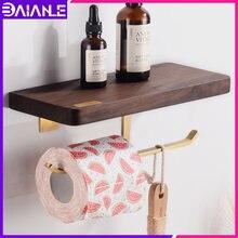 Держатель для туалетной бумаги с полкой деревянный латунный