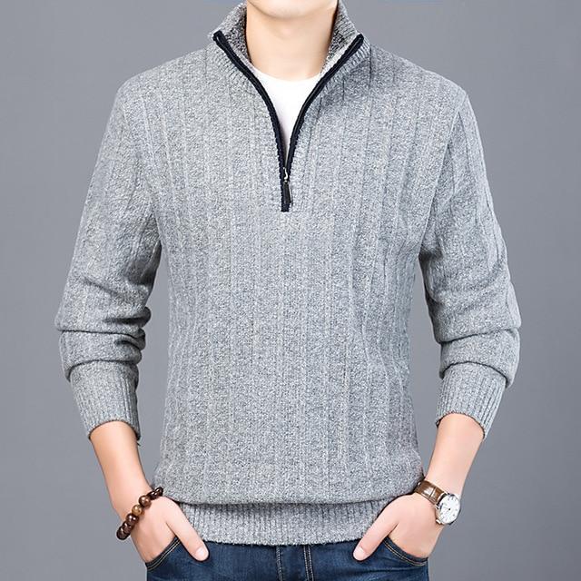 Zipper Pullover Sweaters 2018 Autumn Winter Casual Knitwear Male Half  Turtleneck Men s Sweaters Wool Blending Sweater bff07e5c88