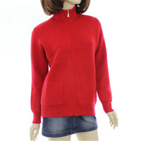 100%goat cashmere turn down collar thick knit women fashion solid slim zipper cardigan sweater red 4color S 2XL