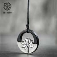 Hotsale Black Lotus Pendant&Necklaces for Women Jewelry Female Vintage Wooden Handmade Sandalwood Long Necklace Chockers 2018