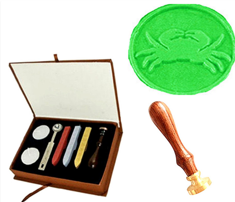 Vintage Cute Crab Wedding Invitation Wax Seal Sealing Stamp Sticks Spoon Gift Box Set Kit Custom Picture Logo big copper spoon big large size stamp spoon vintage wooden handle brass spoon for sealing wax stamp wax stick spoon
