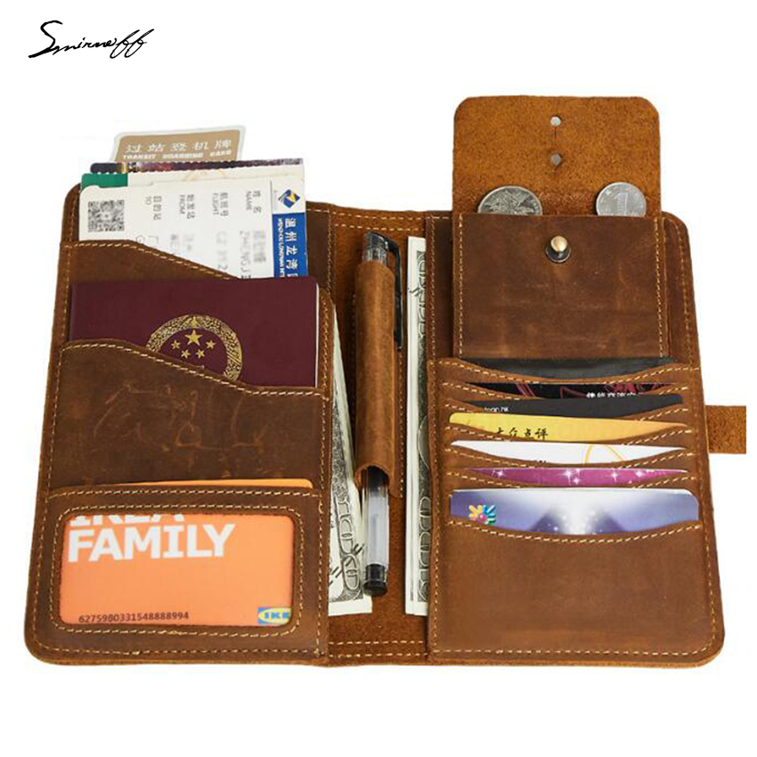 Multi-function Cow leather Wallet Travel passport Holder Bags Male Small Coin Pocket Purse Gift Custom Name Men Hasp Long Wallet